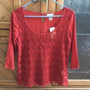 {Lucky Brand} NWT crochet top